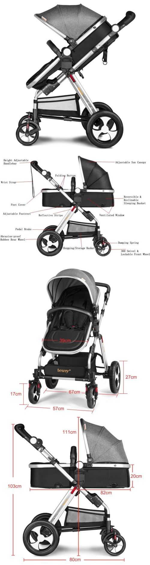 Baby: New Besrey Baby Carriage Foldable Travel System Stroller Buggy Pushchair Pram -> BUY IT NOW ONLY: $189.99 on eBay!