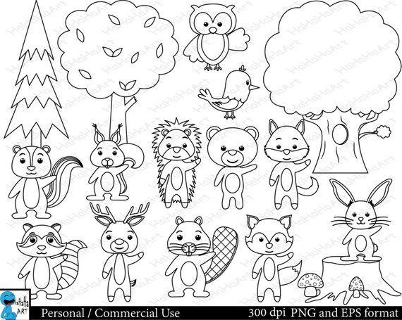 Outline Forest Animals Set Clipart Digital Clip Art Etsy Digital Clip Art Graphics Animal Coloring Pages Woodland Animal Coloring Pages