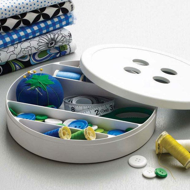 A huge button to store your sewing supplies in.