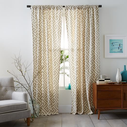 Curtain features a classic geometric pattern of precise turns and angles. The timeless design adds visual texture to any window. www.homeology.co.za
