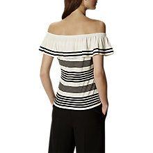 Buy Karen Millen Frill Off Shoulder Top, Black/White Online at johnlewis.com
