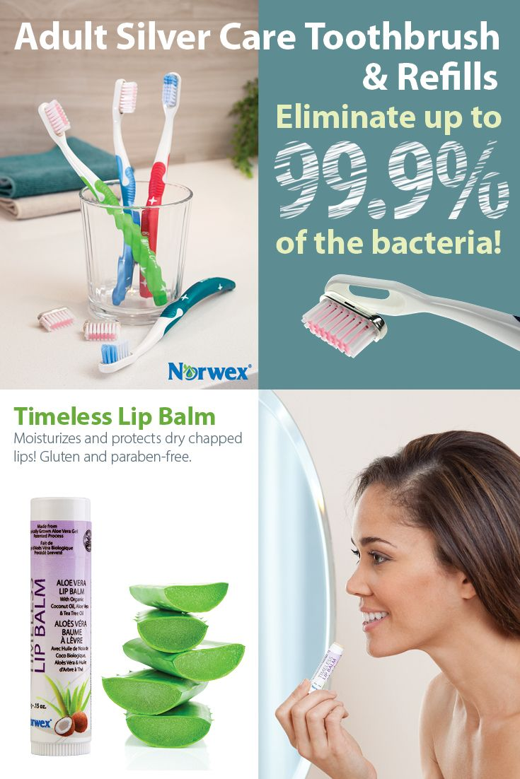 Silver Care Toothbrush ~ Silver on the unique bristle base eliminates up to 99% of bacteria commonly found on toothbrushes. • Self-sanitizes within hours. Timeless Lip Balm quickly penetrates to moisturize, condition and protect dry, chapped lips. Includes organic aloe vera, coconut oil, tea tree oil and is paraben-free.