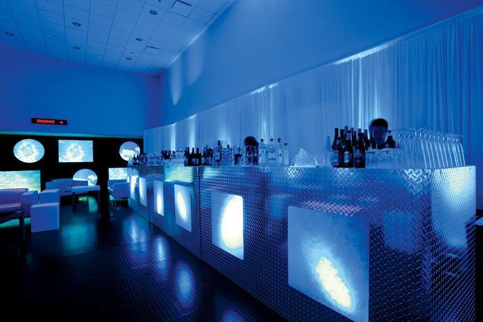 Sleek Aluminum embossed bar and mood lighting
