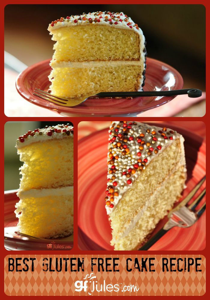 The BEST gluten free cake recipe -- light, airy, EASY, no funky ingredients. Makes yellow, white or chocolate! gfJules #glutenfree #glutenfreecake #glutenfreebirthday #glutenfreerecipes #easyglutenfree