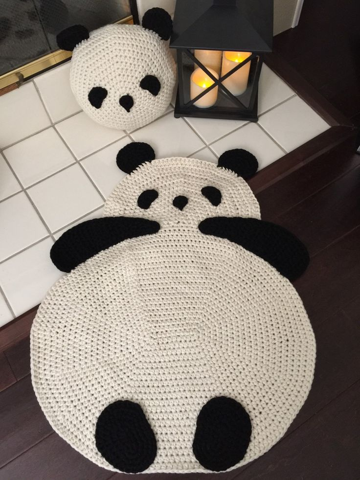 Panda Rug by PeanutButterDynamite on Etsy