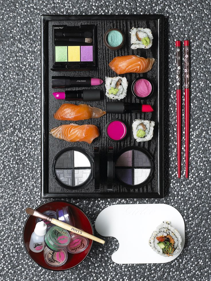 Sushi bento box inspired makeup shoot.