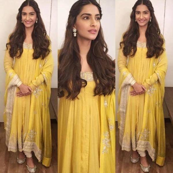 Sonam Kapoor in yellow Anarkali