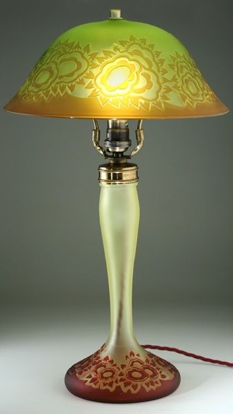 Rare c 1920s val st lambert cut cameo glass deco table lamp fully