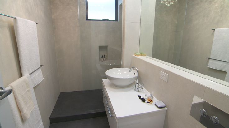 Alisa lysandra 39 s his hers ensuites the block sky high for Bathroom designs reece