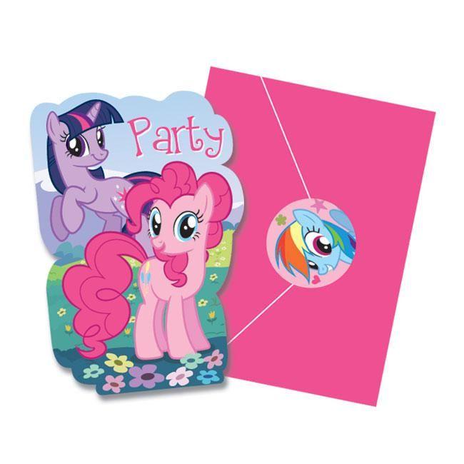 """8 cartons d'invitation """"Mon petit Poney"""" avec enveloppes + autocollants"""