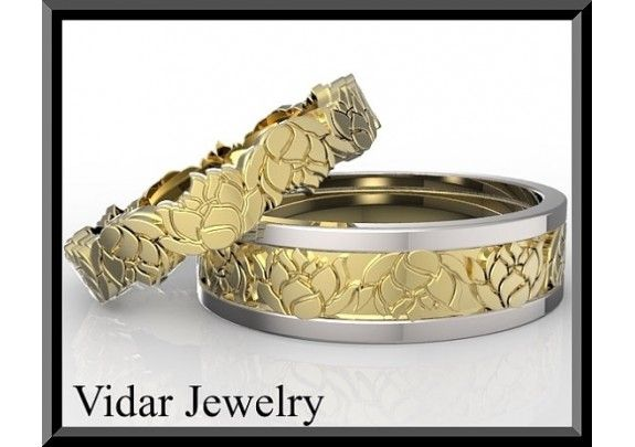 His And Hers Two Gold Tone Lotus Flower Wedding Band Set - TheWeddingMile.com