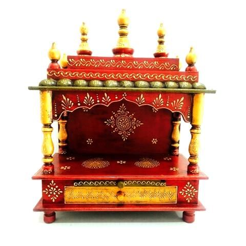 Hand Painted Multicolored Mandir Or Home Puja Or Temple With Drawer - FOLKBRIDGE.COM | Buy Gifts. Indian Handicrafts. Home Decorations.