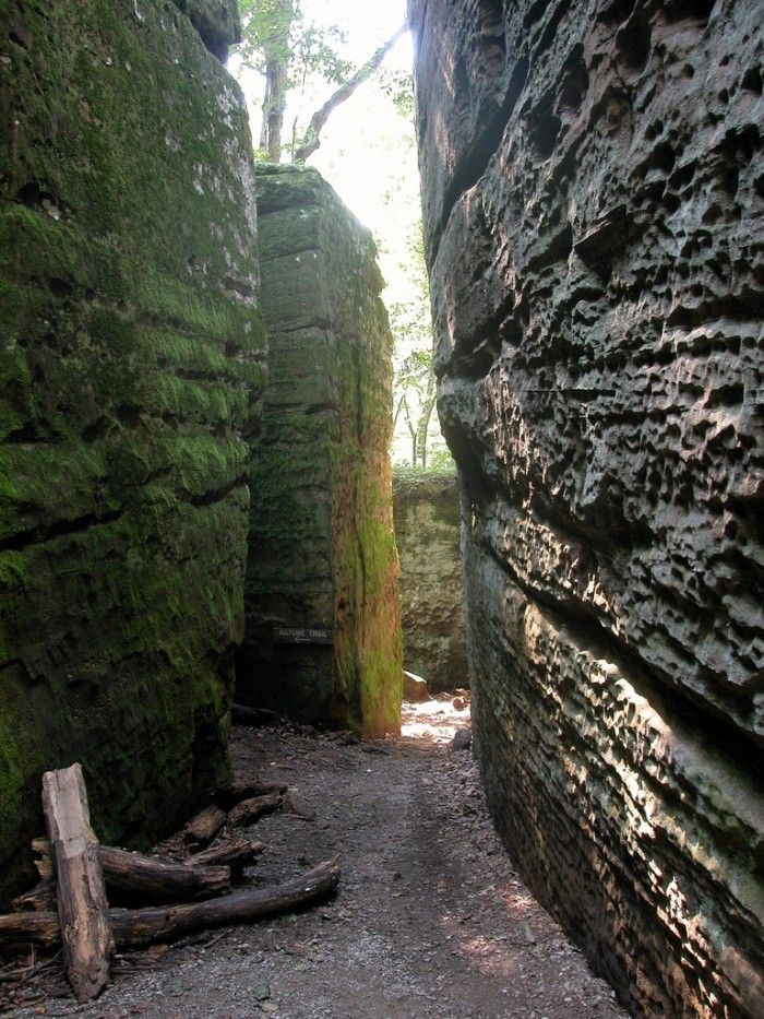 """7. Giant City State Park In Makanda, Giant City State Park is a very popular attraction. People love """"Giant City Street,"""" a trail through these giant bluffs of sandstone. Formed over 12,000 years ago, you will be blown away by just how massive they are."""