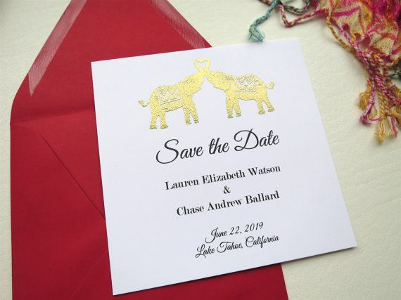 Heart Elephants Wedding Save the Date by WhiteGownInvitations