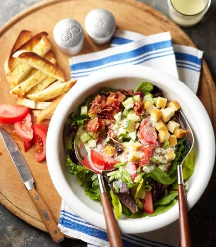 BLT Salad: We took a summertime staple (a bacon-lettuce-and-tomato sandwich) and made it a main-dish salad. Creamy mustard dressing makes the perfect topping.