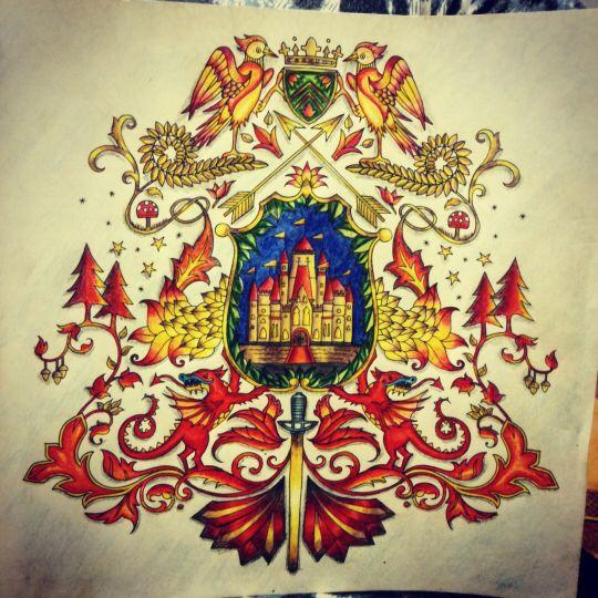 Coat Of Arms Castle Enchanted Forest Braso Castelo Floresta Encantada Johanna Basford BookColoring