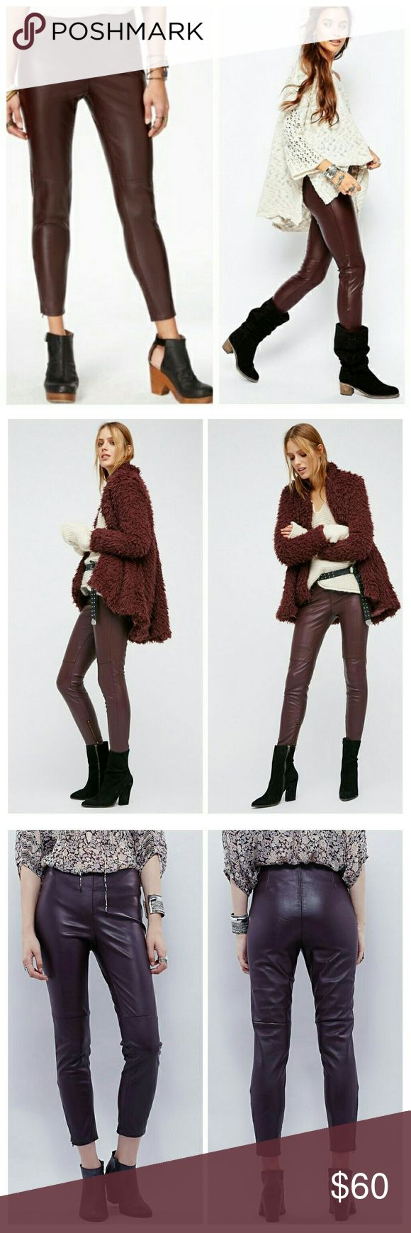 NWT FREE PEOPLE Vegan Leggings  in Oxblood The simple fact that they are vegan leather leggings alone automatically will make anyone feel like a rock star! This edgy  leggings from Free People lend a slimming fit ,will also offering a pop of color to your look that will make you stand out from the crowd in the best way possible! Ankle zippers on the side, side hip zip,elastic  waist band. 100% polyurethane, machine wash cold. Free People Pants Leggings