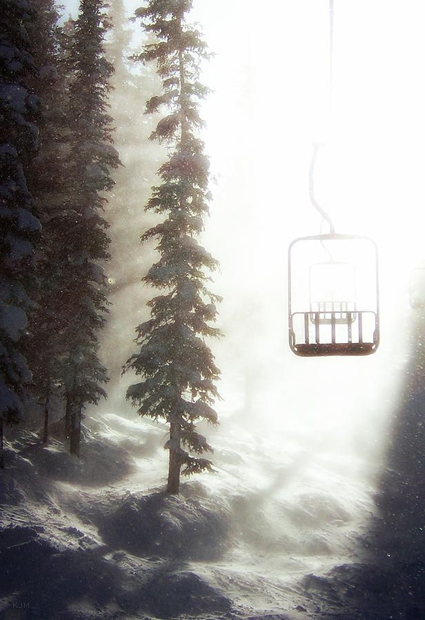 Chairway to Heaven Photograph - Ski lift through the trees in a snowstorm #snow #winter #snowboaring #snowboard