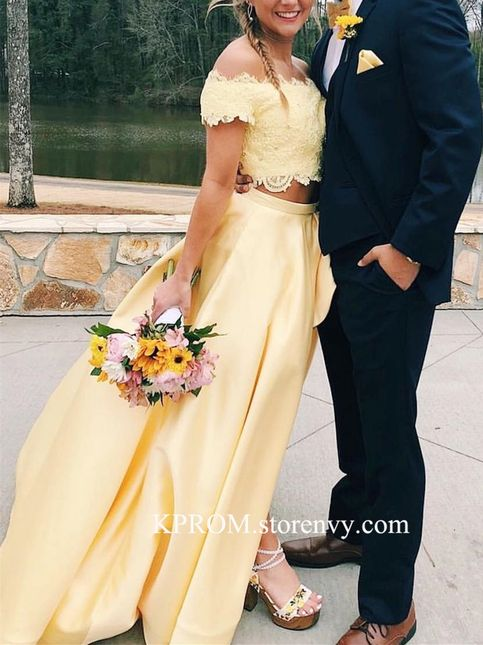 Two Pieces Yellow Lace Prom Dress,Long A-Line Party Dress with Side slit – formal