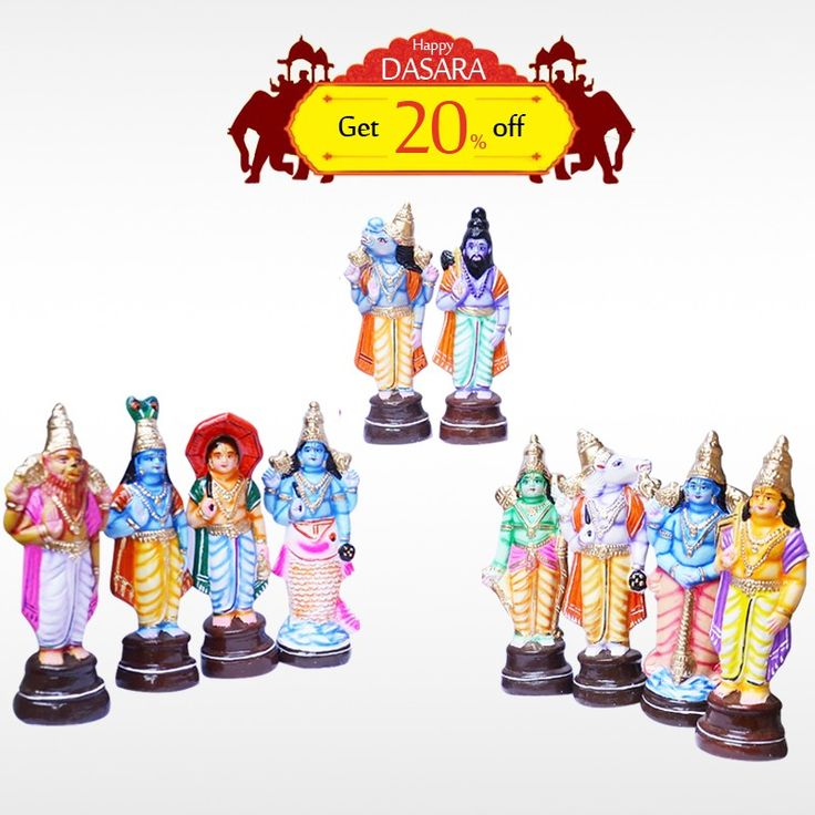 Buy authentic #DashavataraSet and get 20% off on all #DasaraDolls and make your #DasaraSet more unique. #BringHomeFestival