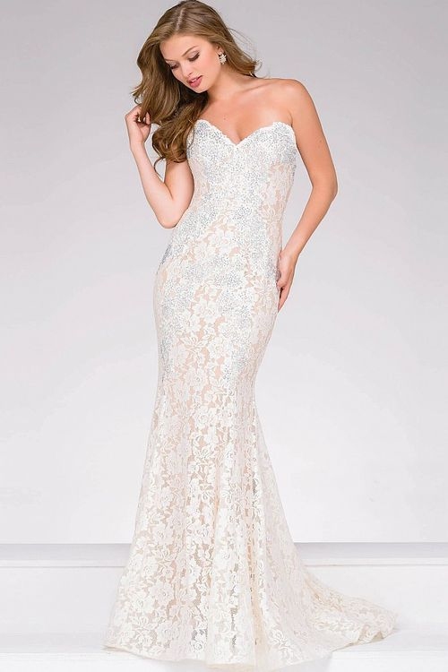 df4174c5962 Buy the Crystal Embellished Strapless Lace Prom Dress 37334 by Jovani at  CoutureCandy.com