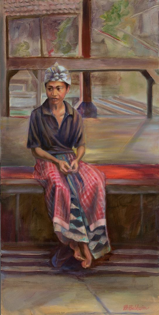 """Oil Painting """"Bali Worker"""" Oil painting inspired by the everyday beauty of life in Bali, Indonesia. on Etsy, $995.00"""
