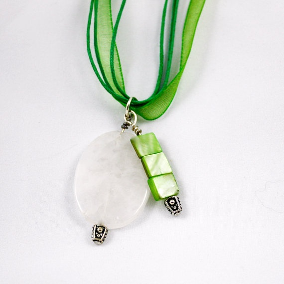 Lime Green Key West Rose Quartz and Dyed Shell by lindseybaker, $26.00