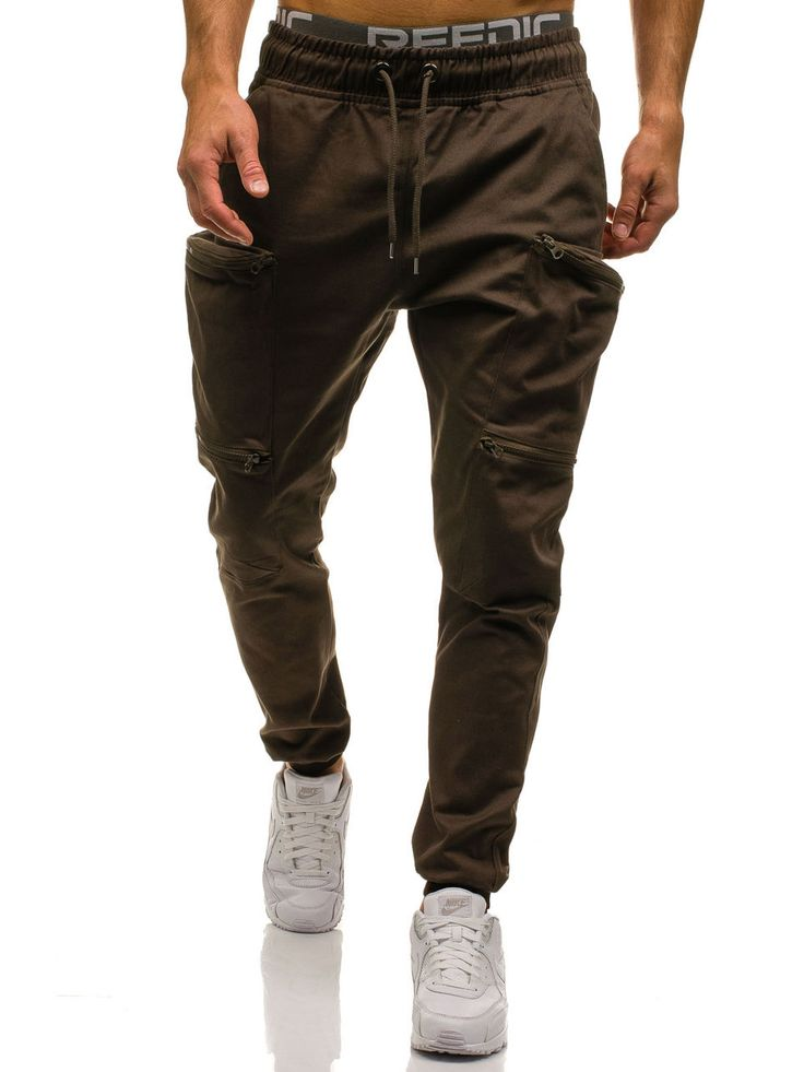 Brown men's cotton trousers Manufactured for Bolf by Athletic The model (182 cm, 82 kg) is wearing size XL Fabric: 100% Cotton
