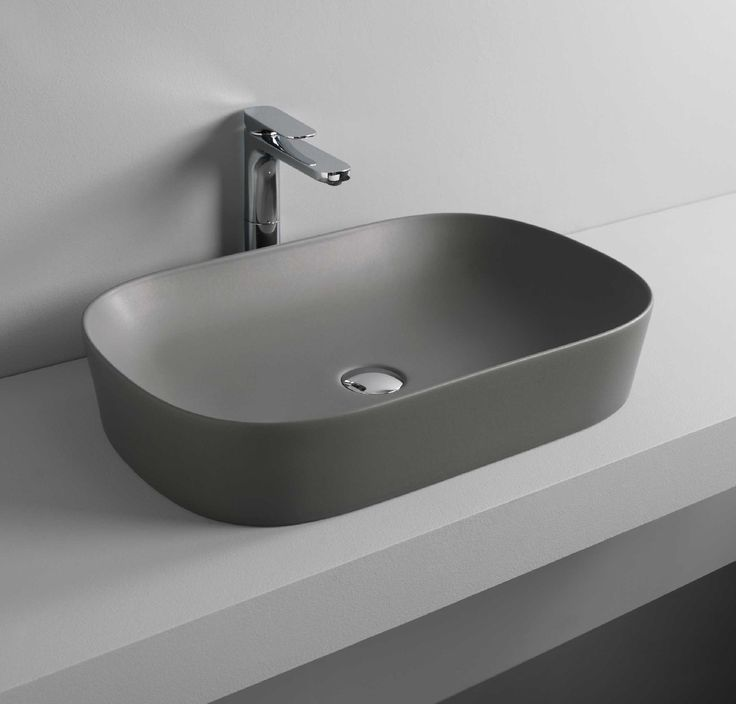 GHOST countertop washbasin #grey #bathroom #TheArtceram - Thin-rim washbasins