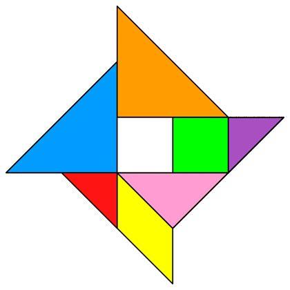 Tangram Pinwheel - Tangram solution #85 - Providing teachers and pupils with tangram puzzle activities