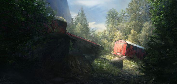 Little red train, Timothée MATHON on ArtStation at https://www.artstation.com/artwork/bz3Kg