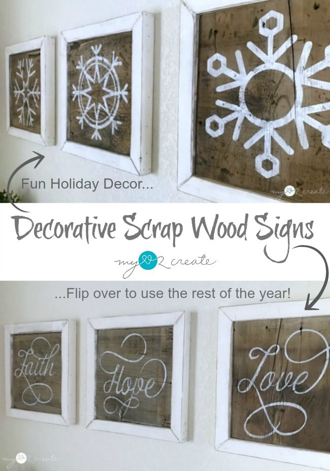 Make your own Decorative Scrap wood Signs, they are super easy and reversible!  Free plans and tutorial at MyLove2Create.  Plus 13 Days of Woodworkers Christmas, unlock a different project every day! #13daysofwoodworking