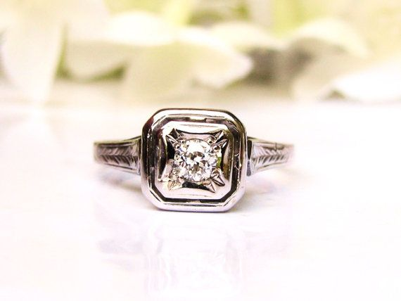Antique Engagement Ring Petite 0.15ct Old by LadyRoseVintageJewel