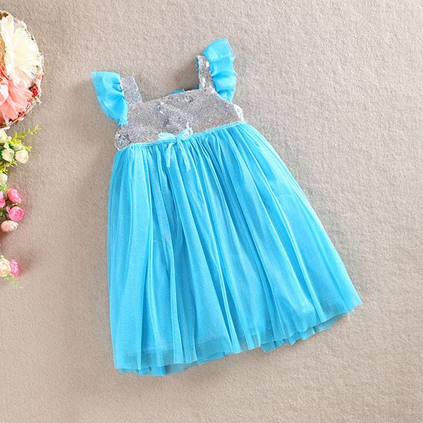 Цельный прекрасный платье-линии бантом блестки Blings пачки малыша принцесса новорожденных детей девочек одежда 1-5Y