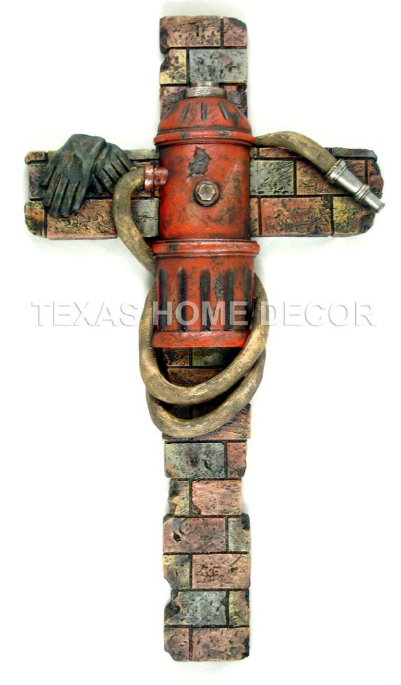 Fireman Decorative Wall Cross Fire Hydrant Hose Gloves Faux Brick Look 22x12 in