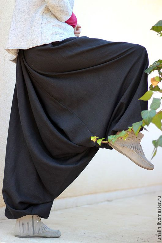 Брюки, шорты ручной работы. Заказать Черные льняные афгани. Alina Zilberman (shantimama). Ярмарка Мастеров. Черный, широкие штаны