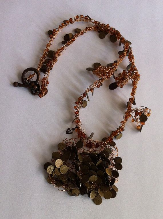 Bronze colored wireseed beaded necklace Wire by bonmokishop