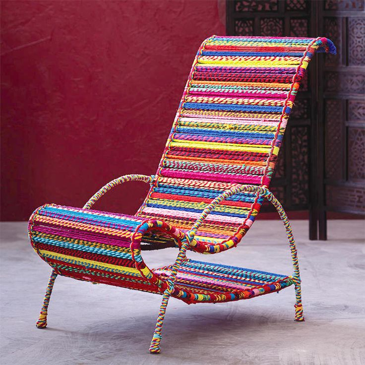 Brightly Colored   Woven Furniture   Lounge Chair   World Market   Handmade Gifts   Artisan Crafts   Home Decor