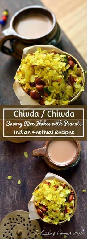 Chivda -Chiwda - Savory Beaten Rice Flakes with Peanuts - Indian Festival Recipes - Diwali Recipes - www.cookingcurries.com
