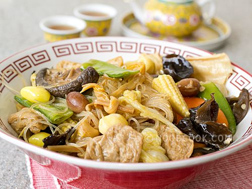 Chinese New Year Recipes 1) Steamboat 2) Yu Sheng 3) Buddha's Delight (Luo Han Zhai) 4) Braised Mushrooms and Abalone 5) Stir-fried Leeks 6) Stir-fry Prawns in XO Sauce 7) Imitation Shark Fin Soup 8) Snow Fungus Soup with Longan & Ginkgo 9) Crispy Roast Pork Belly (Siu Yuk) 10) Bak Kwa
