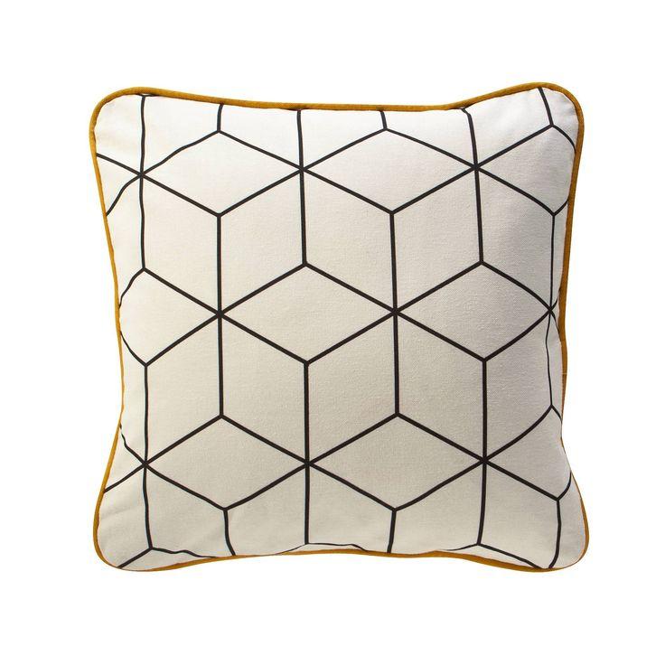 Housse de coussin coton imprim jehault cubes and canapes - Patron housse de canape ...