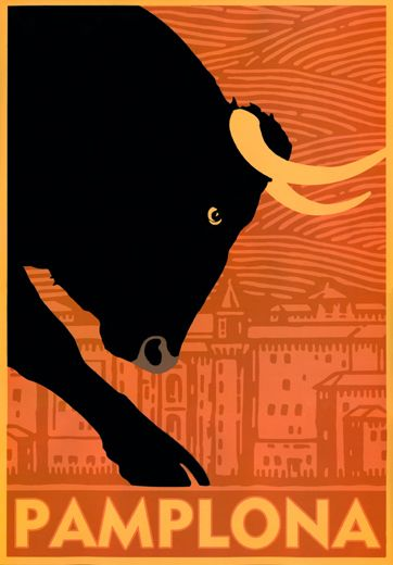 Pampalona Spain Travel Poster - Fermín festival which happens anually from July 6 to 14, where the bulls are set free to run through the streets.