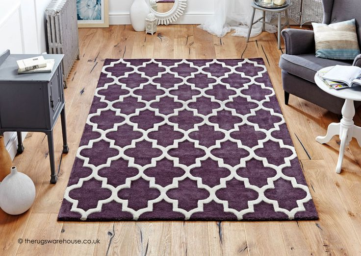 Arabesque Mauve Rug A Thick Heavy Hand Tufted High Low Pile Wool