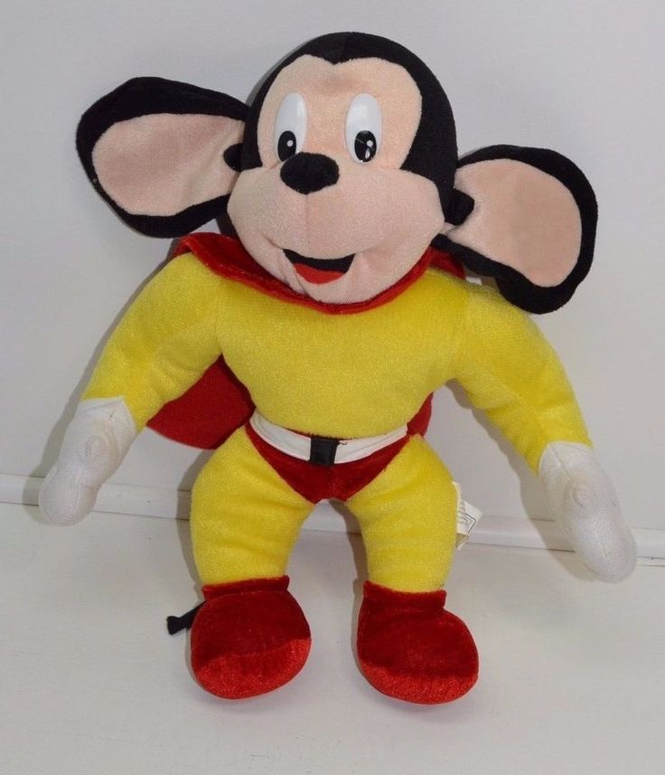 """14"""" Mighty Mouse Plush Yellow Red Cape Terrytoons Toy Network Stuffed Animal  