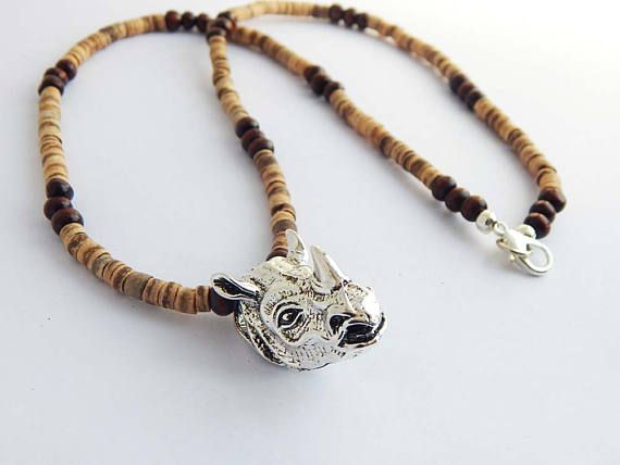 African Rhino Necklace Jewelry Silver Rhinoceros Pendant African Wildlife Rhinoceros Mens Ladies Afrocentric Unisex Beaded Heishi Brown by TheBlackerTheBerry
