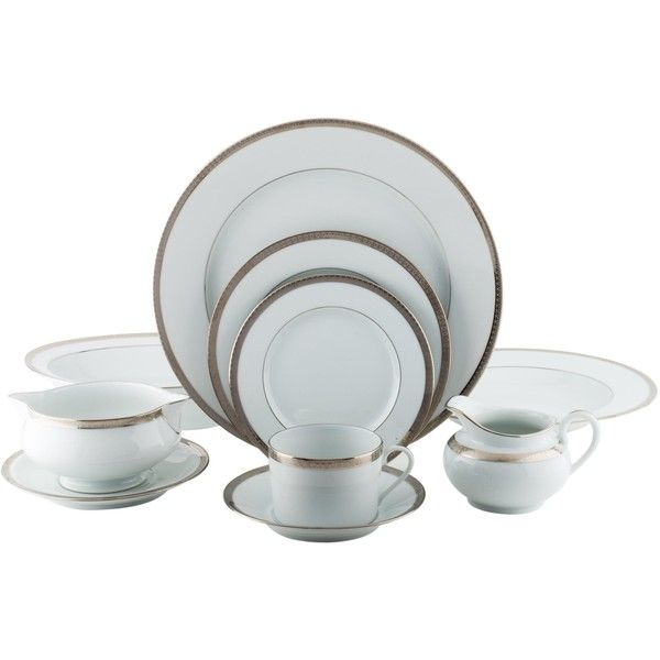 Pre-owned Haviland 84-Piece Symphonie Platine Dinner Service ($2,495) ❤ liked on Polyvore featuring home, kitchen & dining, dinnerware, metallic, rim soup bowl, dinner-ware, white soup bowls, white porcelain soup bowls and white dinnerware