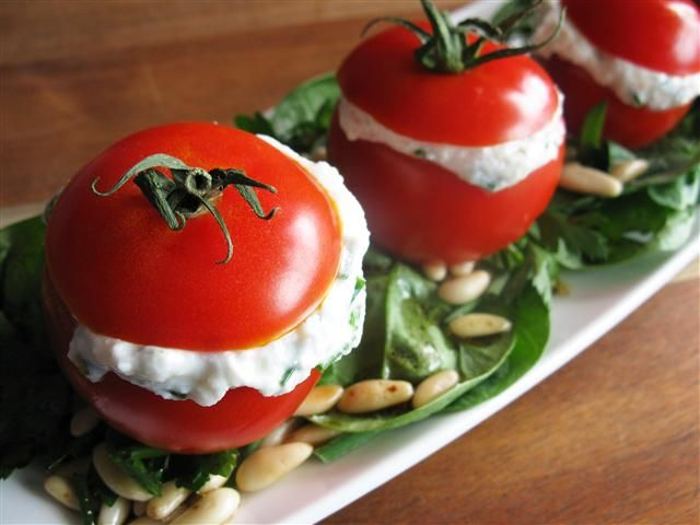 Stuffed tomatoes!  Oh what fun we will have this summer!