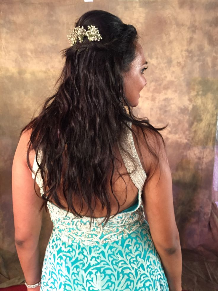 Bohemian Hair, Natural curls, wedding hairstyle. Hairdo with flowers