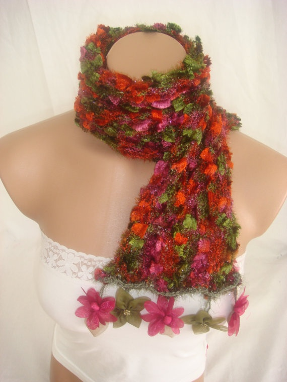 Hand knitted colorful elegant scarf by Arzus on Etsy, $15.90: Hands Knits, Elegant Scarfs, Colors Elegant, Knits Colors