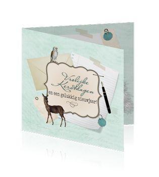 Stijlvolle zakelijke kerstkaart met vintage uitstraling. Het design van deze kaart loopt door aan de binnenzijde.